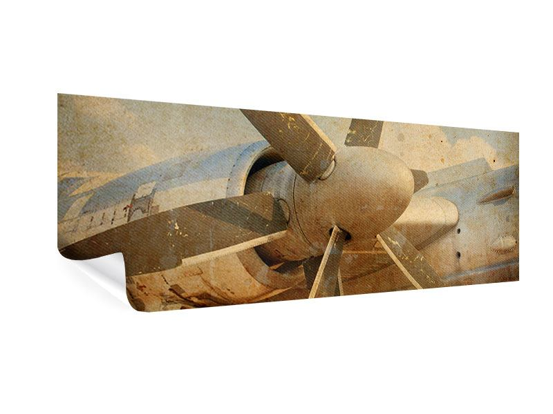 Poster Panorama Propellerflugzeug im Grungestil