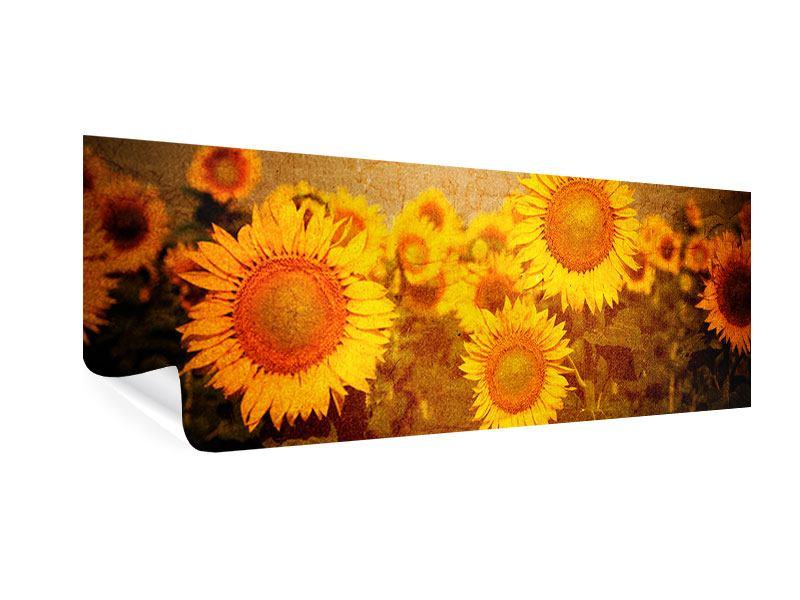 Poster Panorama Retro-Sonnenblumen