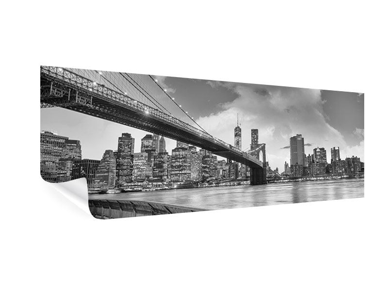 Poster Panorama Skyline Schwarzweissfotografie Brooklyn Bridge NY
