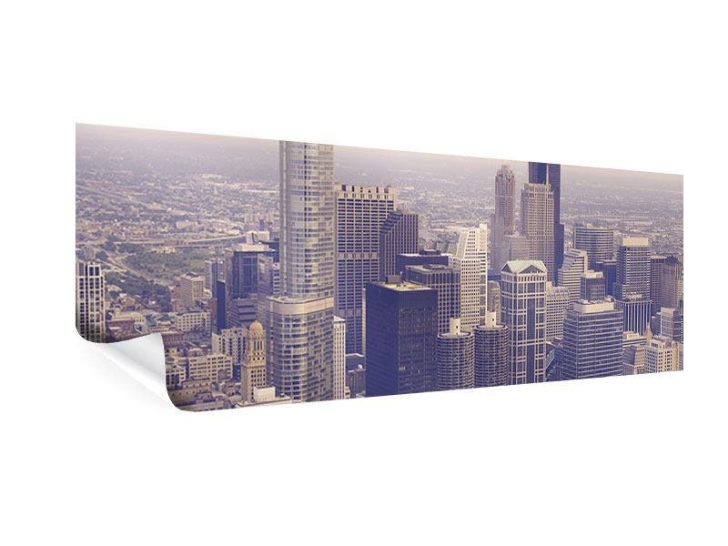 Poster Panorama Skyline Chicago in Sepia