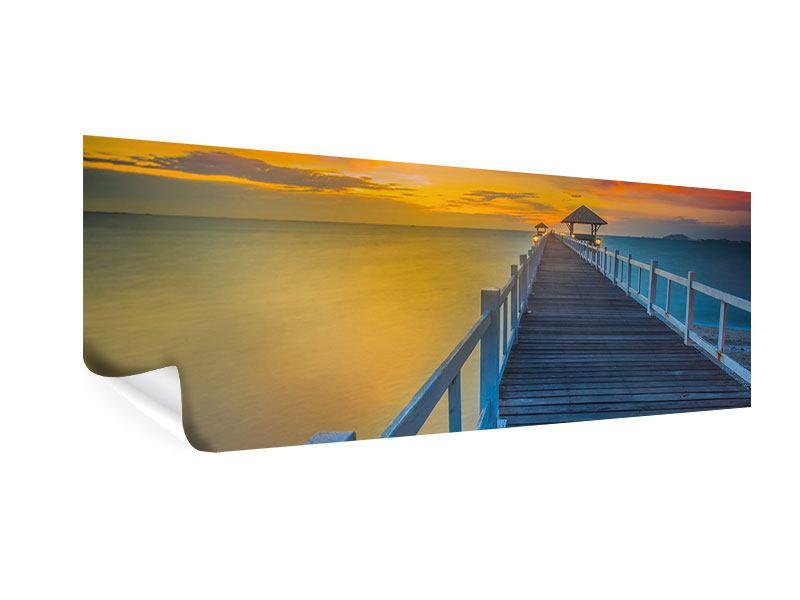 Poster Panorama Eine Holzbrücke im fernen Osten