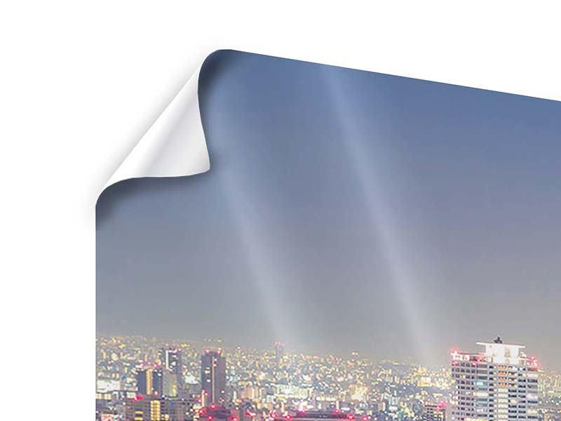 Poster Panorama Skyline Osaka bei Sonnenuntergang
