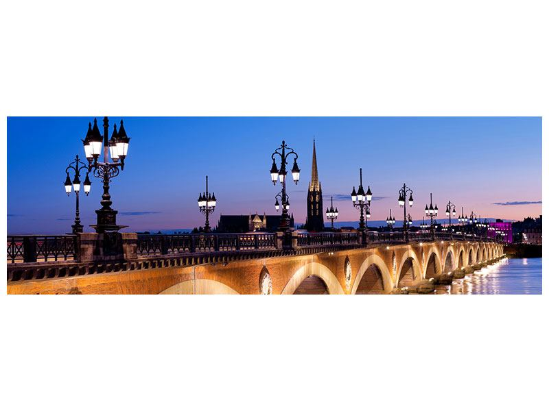 Poster Panorama Pont De Pierre bei Sonnenuntergang