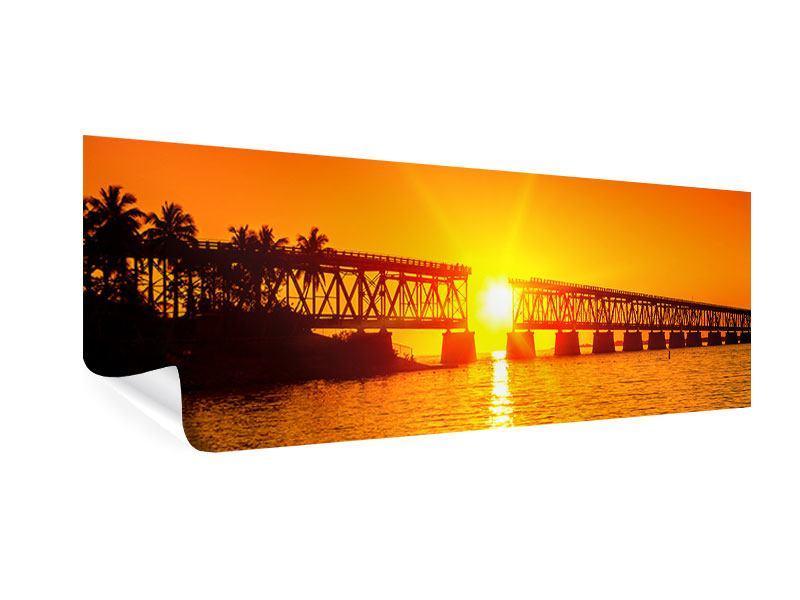Poster Panorama Sonnenuntergang an der Brücke