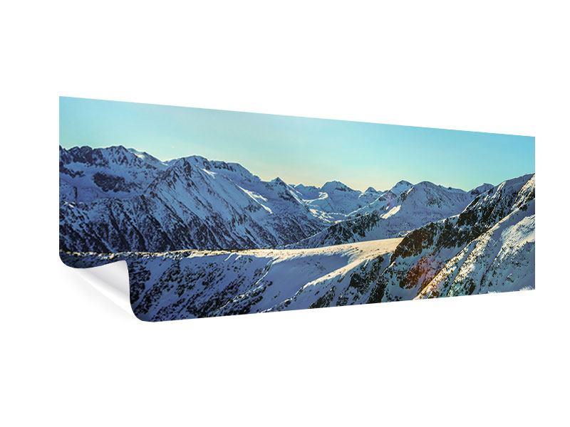 Poster Panorama Sonnige Berggipfel im Schnee