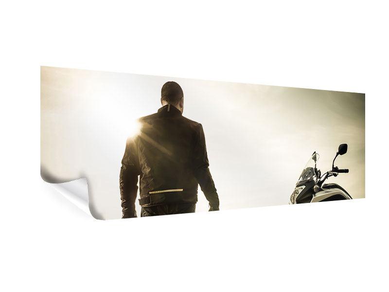 Poster Panorama Biker in der Abenddämmerung