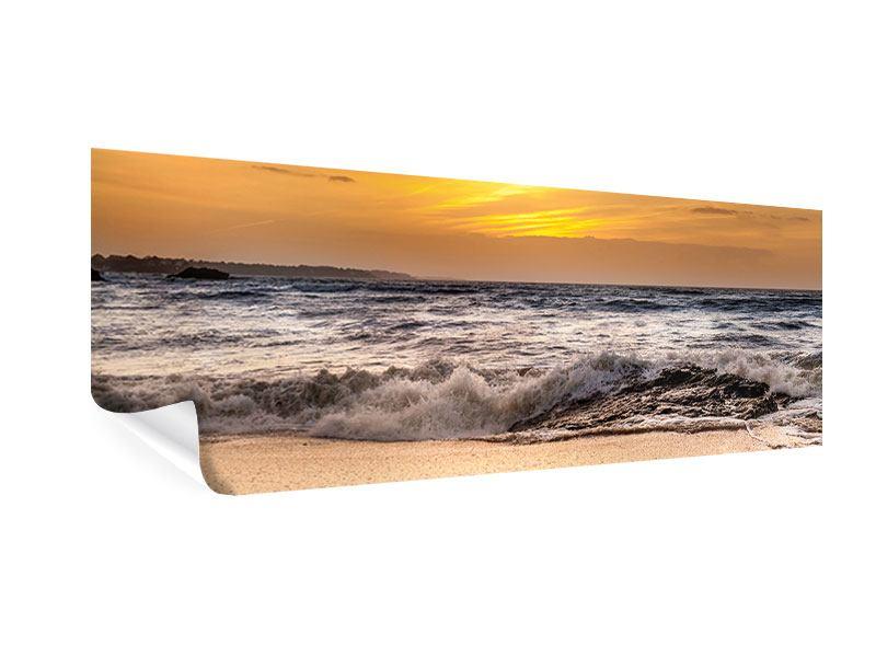 Poster Panorama See mit Sonnenuntergang