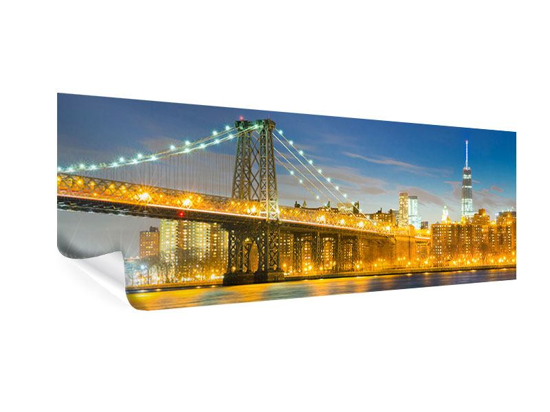 Poster Panorama Brooklyn Bridge bei Nacht
