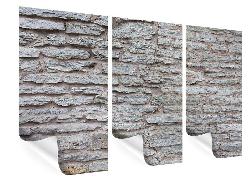 Poster 3-teilig Steinmauer