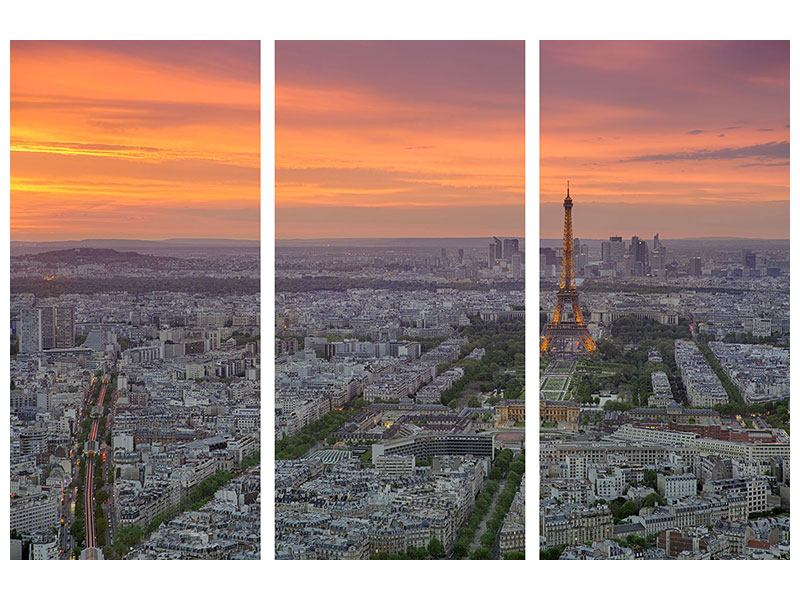 Poster 3-teilig Skyline Paris bei Sonnenuntergang
