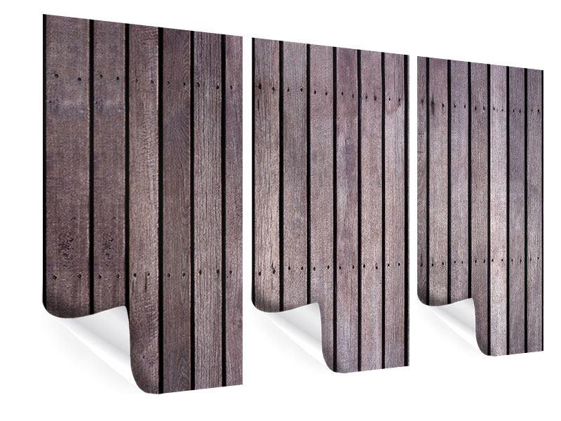Poster 3-teilig Holzwand