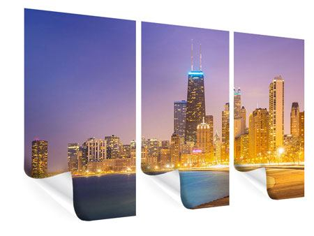 Poster 3-teilig Skyline Chicago in der Nacht