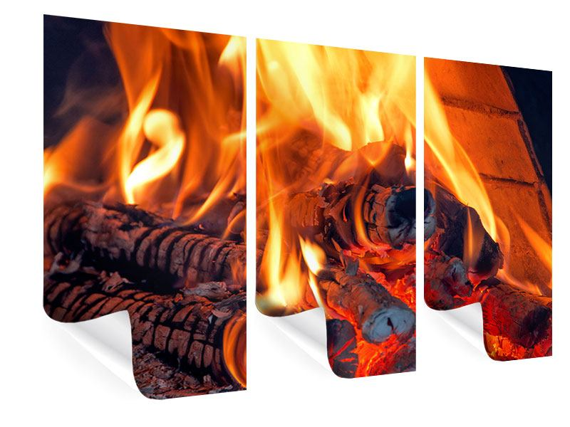 Poster 3-teilig Lagerfeuer