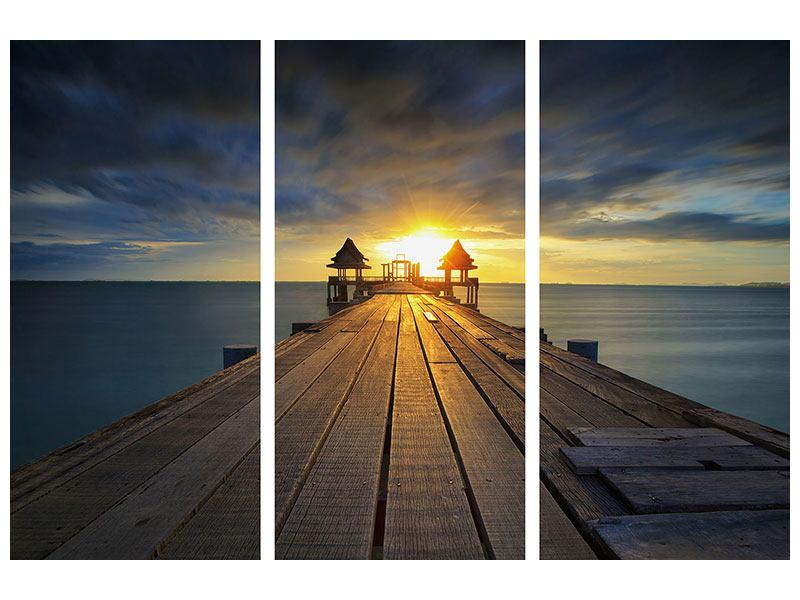 Poster 3-teilig Der Sonnenuntergang bei der Holzbrücke