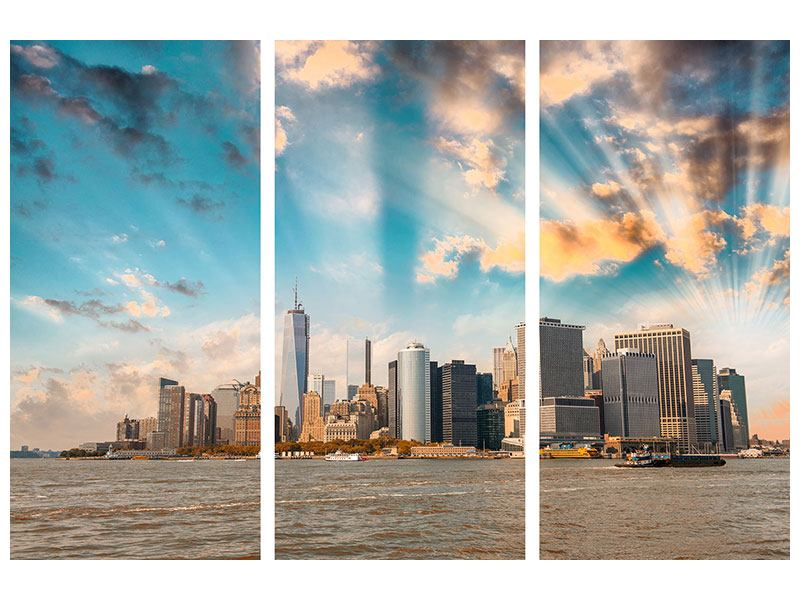 Poster 3-teilig Skyline New York from the other Side