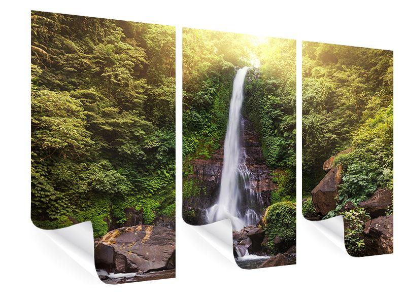 Poster 3-teilig Wasserfall Bali