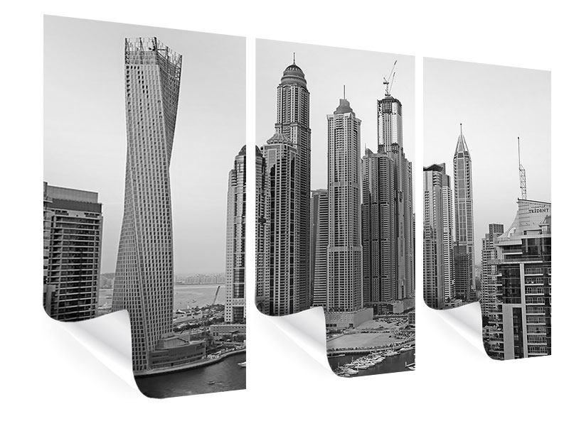 Poster 3-teilig Majestätische Wolkenkratzer in Dubai