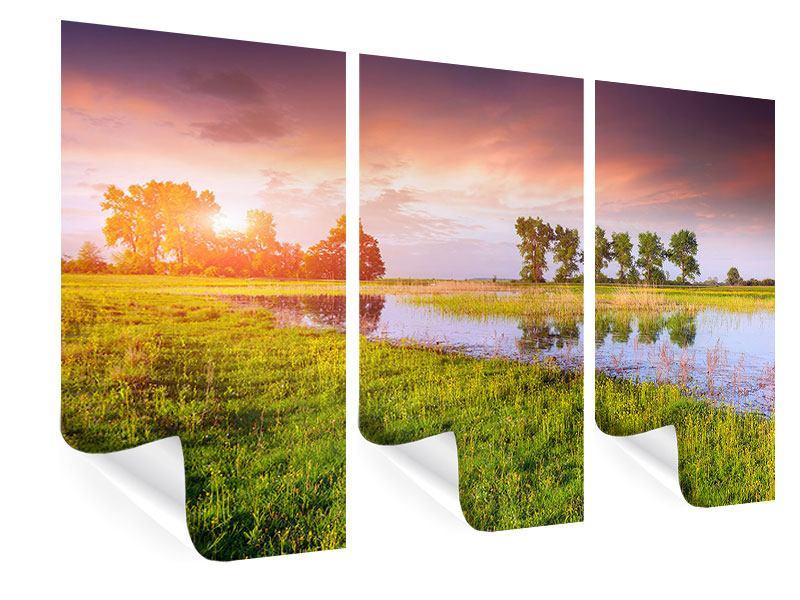 Poster 3-teilig Sonnenuntergang am See