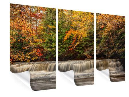 Poster 3-teilig Herbst beim Wasserfall