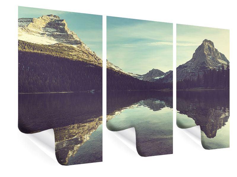 Poster 3-teilig Spiegelung im Bergsee