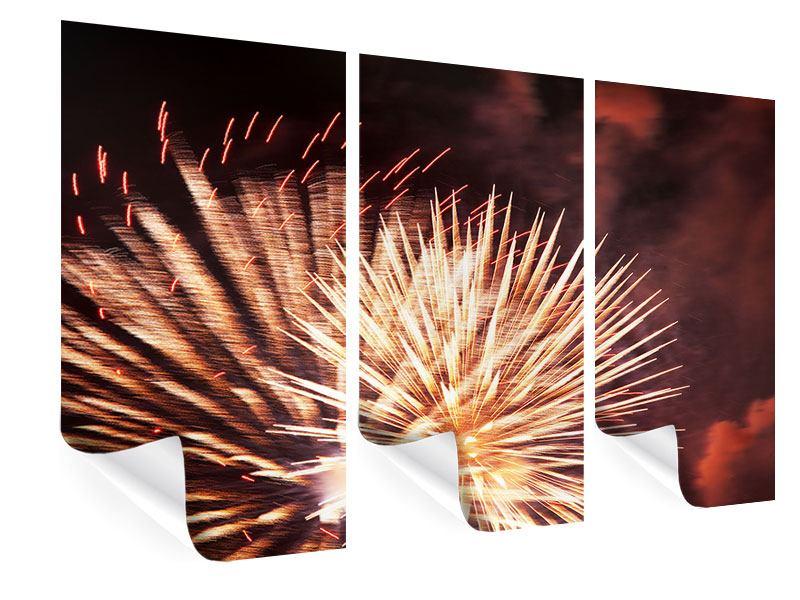 Poster 3-teilig Close Up Feuerwerk