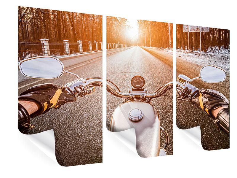 Poster 3-teilig Auf dem Motorrad