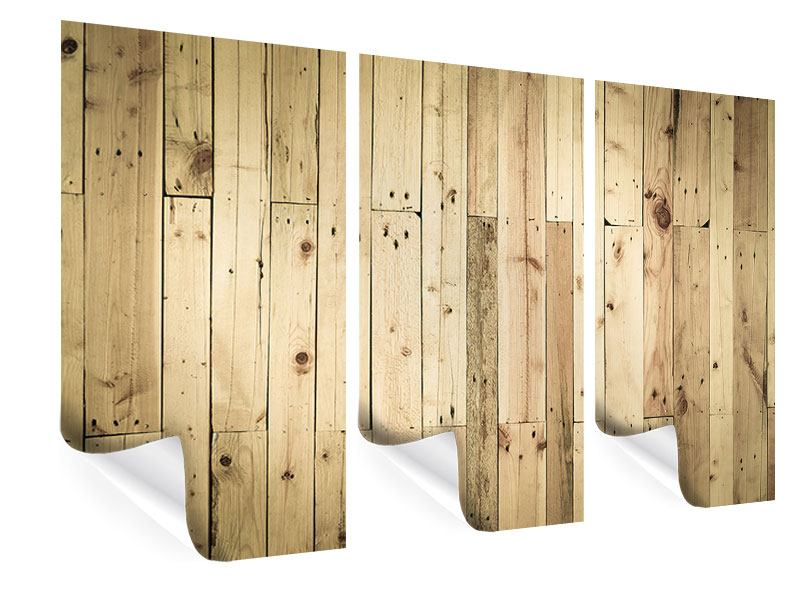 Poster 3-teilig Holzpaneelen