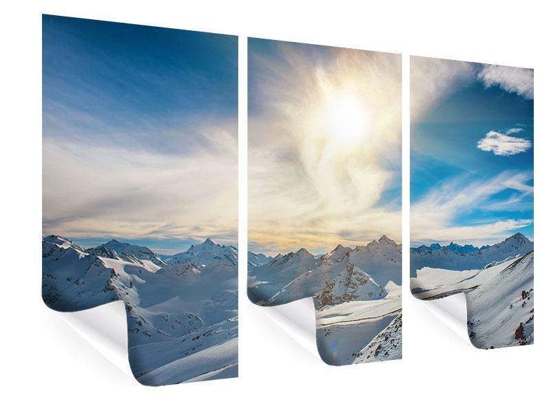 Poster 3-teilig Über den verschneiten Gipfeln