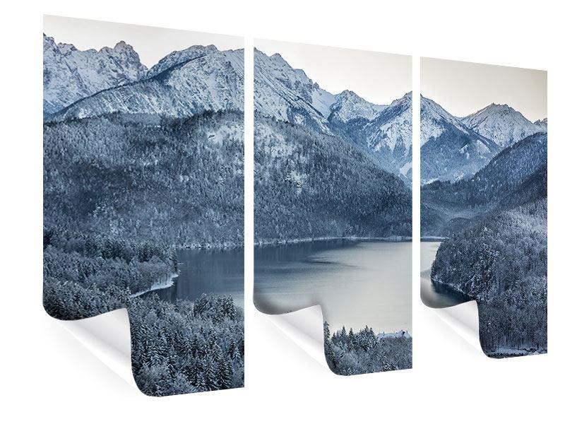 Poster 3-teilig Schwarzweissfotografie Berge