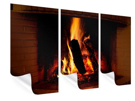 3 Piece Poster Fire In The Chimney