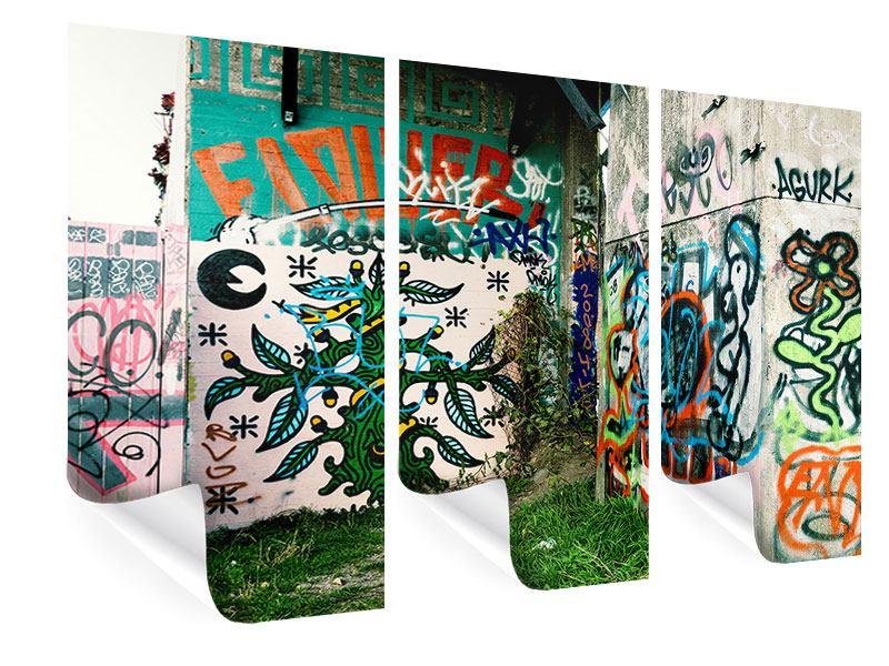 Poster 3-teilig Graffiti im Hinterhof