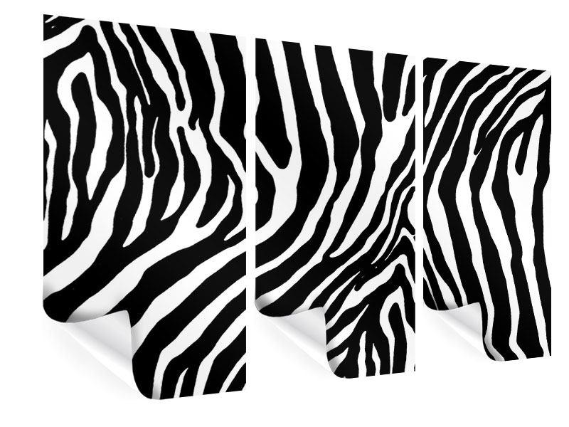Poster 3-teilig Zebramuster