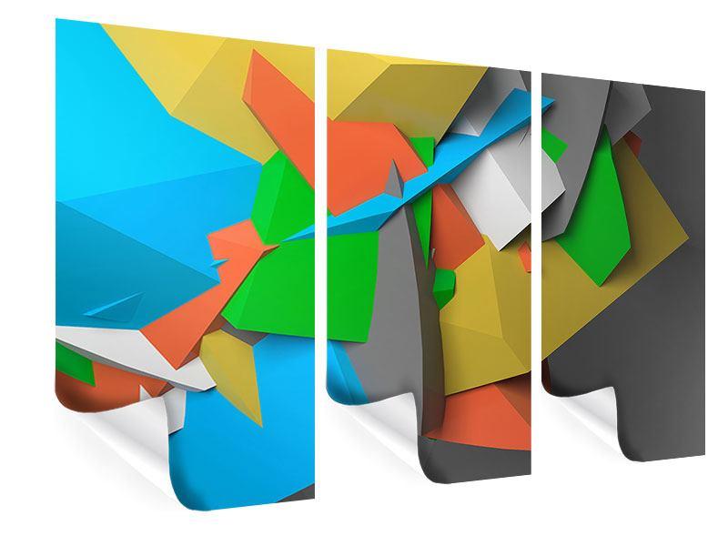 Poster 3-teilig 3D-Geometrische Figuren