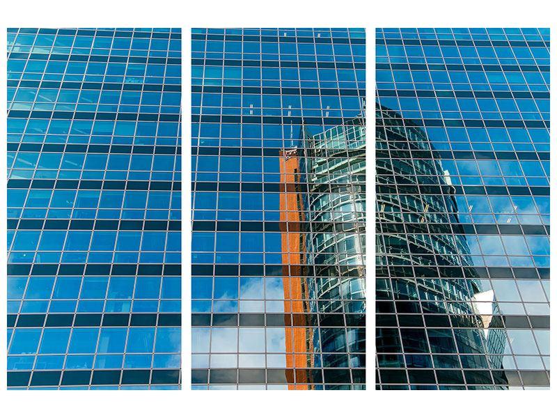 Poster 3-teilig Wolkenkratzer-Spiegel