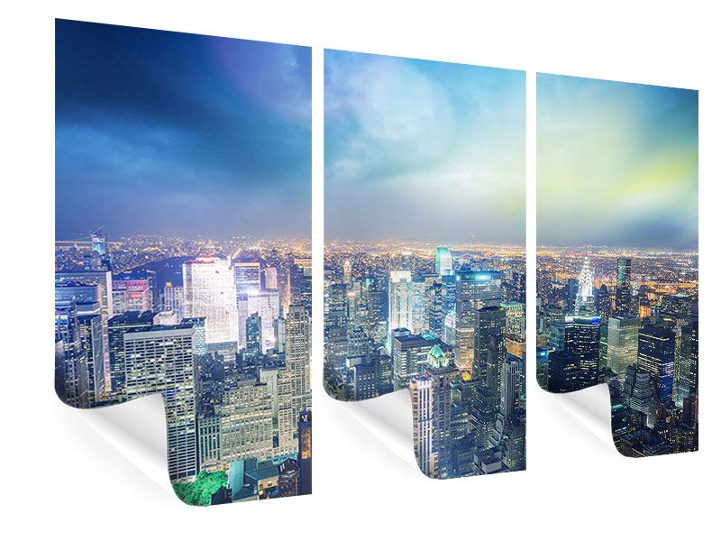 Poster 3-teilig Skyline NY bei Sonnenuntergang