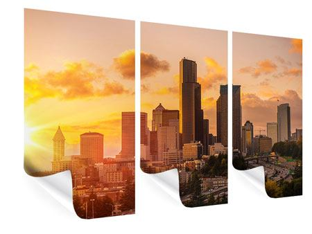Poster 3-teilig Skyline Washington