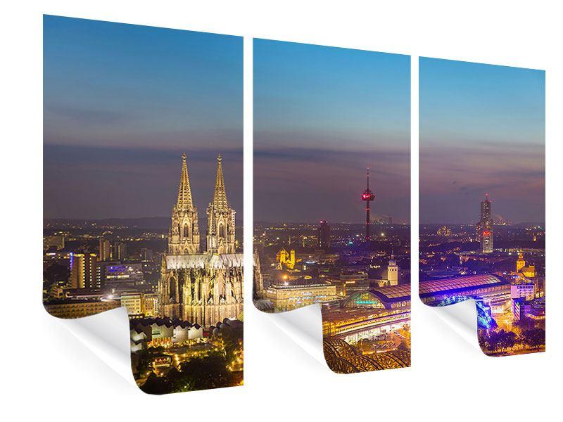 Poster 3-teilig Skyline Kölner Dom bei Nacht