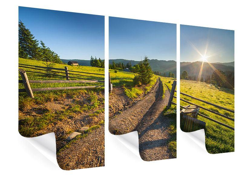 Poster 3-teilig Sonnenaufgang am Berg