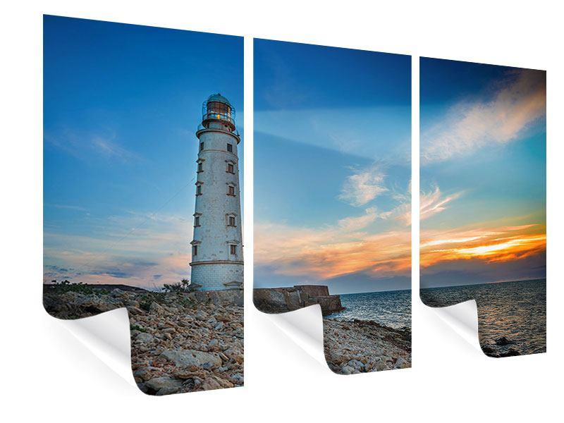 Poster 3-teilig Sonnenuntergang am Leuchtturm