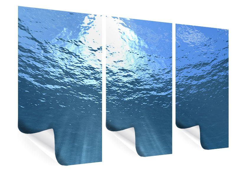 Poster 3-teilig Sonnenstrahlen unter Wasser