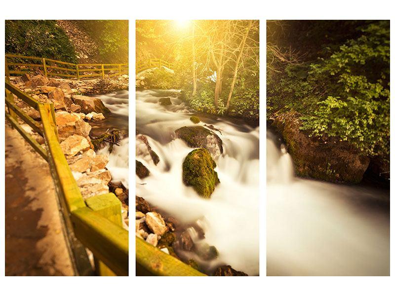 Poster 3-teilig Sonnenuntergang am Wasserfall