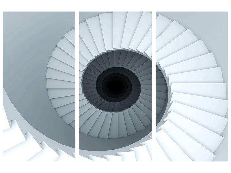 Poster 3-teilig 3D Wendeltreppe