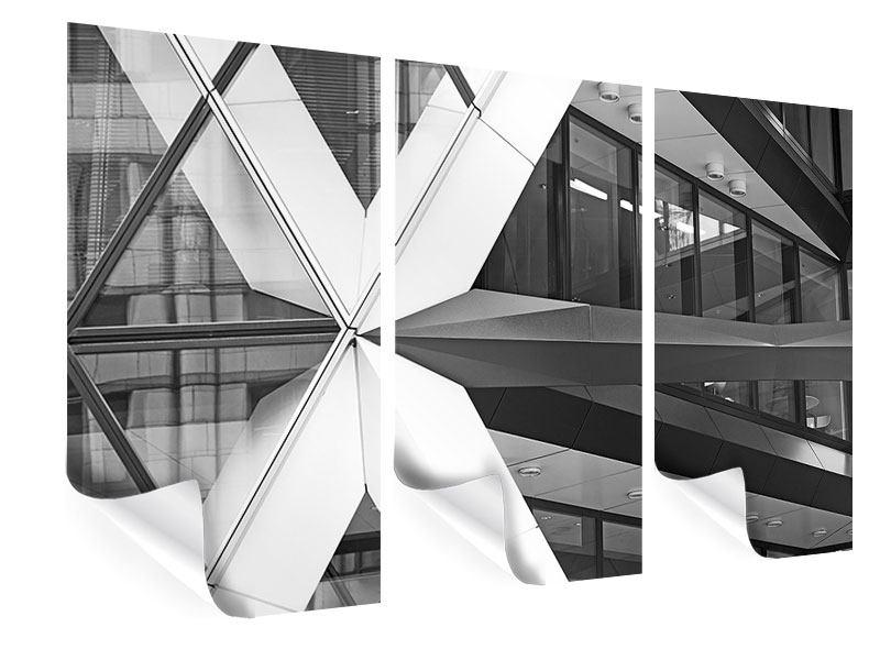 Poster 3-teilig Teil eines Wolkenkratzers