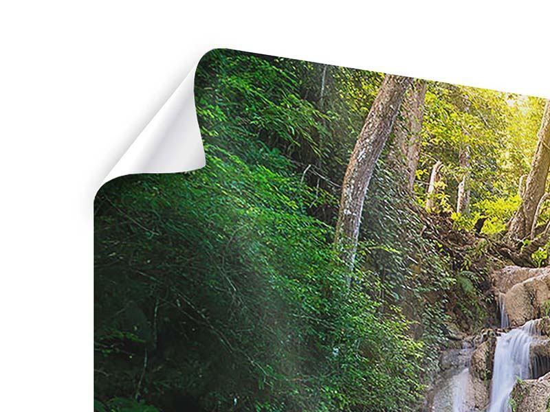 Poster 3-teilig Terrasse am Wasserfall