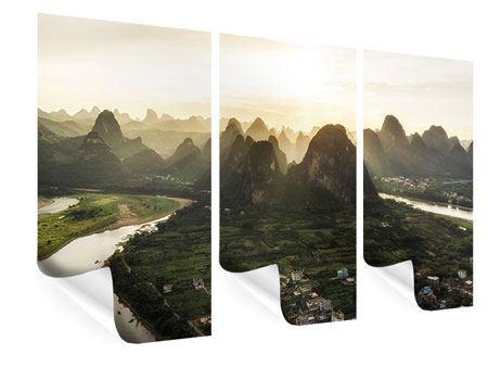 Poster 3-teilig Die Berge von Xingping