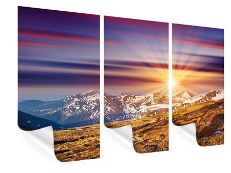 Poster 3-teilig Majestätischer Sonnuntergang am Berggipfel