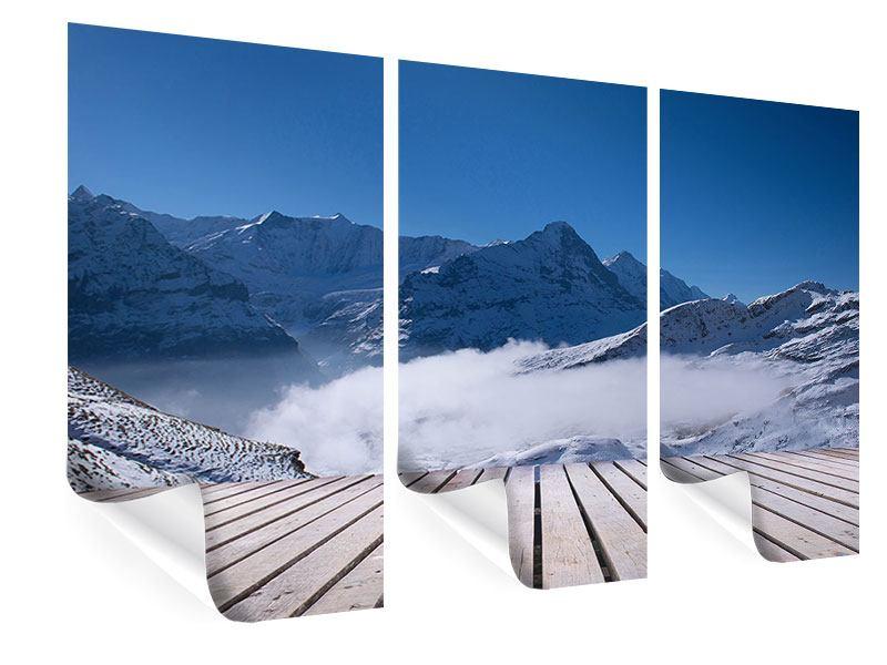 Poster 3-teilig Sonnenterrasse in den Schweizer Alpen