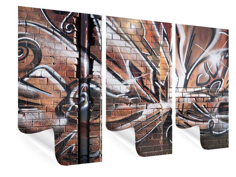Poster 3-teilig Graffiti Mauer