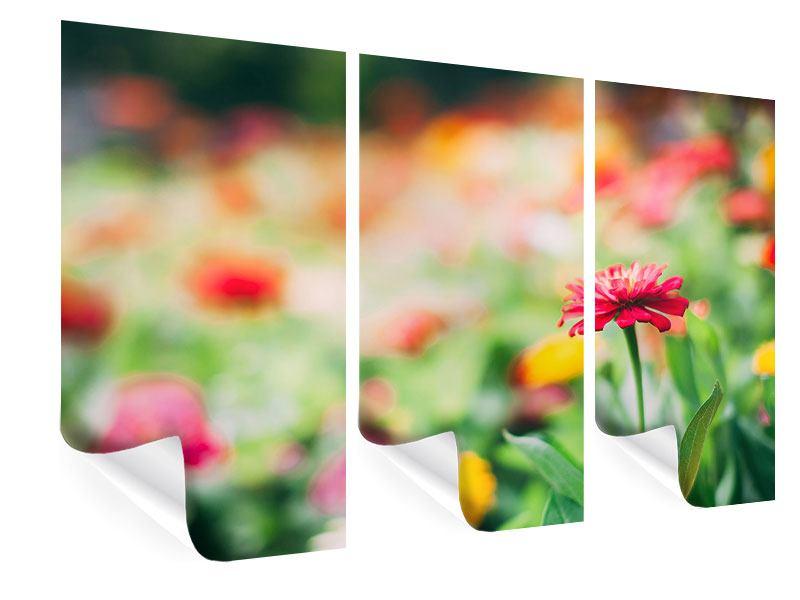 Poster 3-teilig Im Blumengarten
