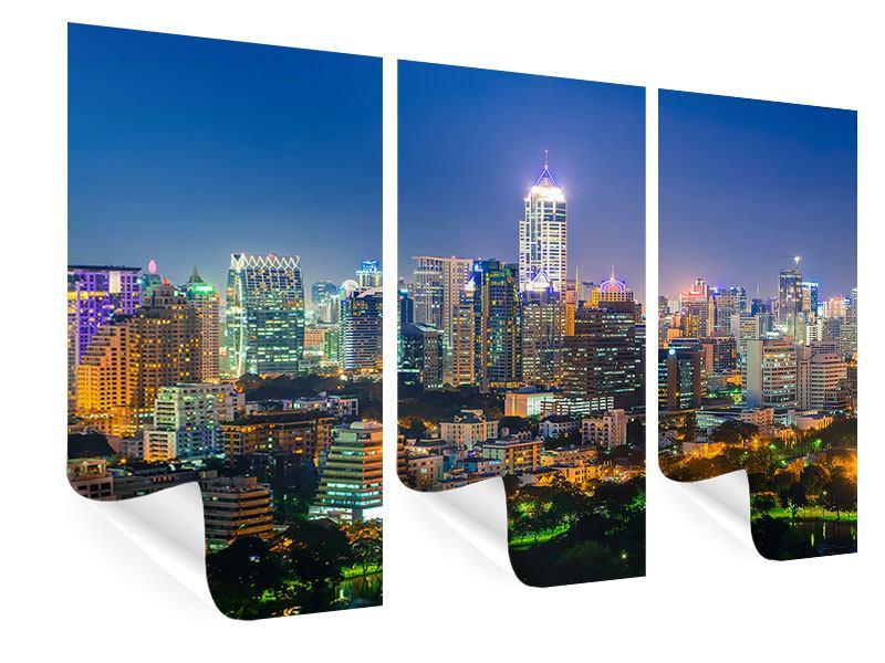 Poster 3-teilig Skyline One Night in Bangkok